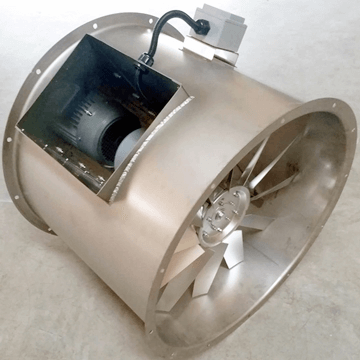 paslanmaz çelik inox aksiyal kanal tipi fan bifurcated  motor hava akımı dışında yüksek sıcaklığa dayanıklı aksiyel havalandırma fanları