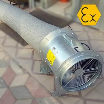 Exproof havalandırma aspiratörü, mobil, seyyar aspiratör, hortumlu, flex borulu