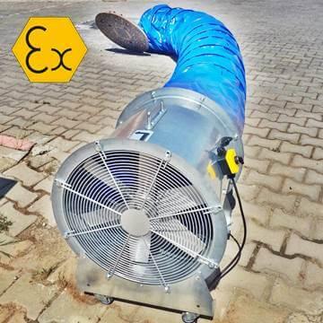 Exproof portatif havalandırma vantilatörü hortumlu, flexible borulu fanlar