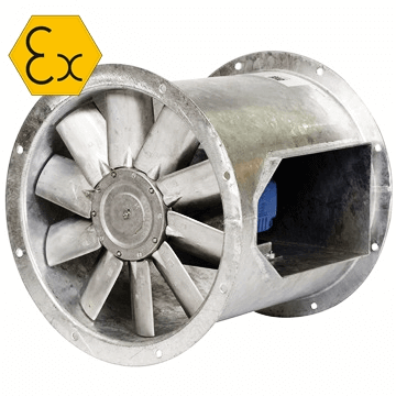 AXD-B bifurcated expğroof aksiyel fan, antikorozoti,f exproof, aksiyel exproof, motoru hava akımı dışında atex fan fiyatı